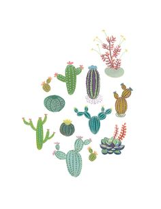 Cactus Family art print Succulent cacti by courtneyoquist on Etsy