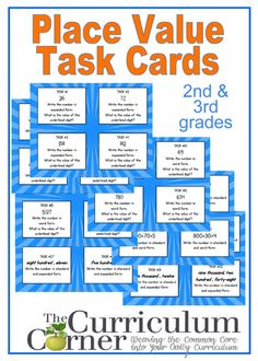 2nd & 3rd Grade Place Value Task Cards free from The Curriculum Corner