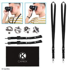 Set of 4 Camera Quick Install Tripod Mount Screws, 2 Lanyards and 2 Wrist Straps - For a Fast and Secure Connection to Your Camera - Adjustable Wrist Straps - Lanyards with Detachable Buckle * Want additional info? Click on the image. (This is an Amazon Affiliate link and I receive a commission for the sales)