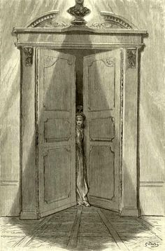 """'Tis some visitor entreating entrance at my chamber door / Some late visitor entreating entrance at my chamber door; / This it is, and nothing more.""  illustration for Edgar Allen Poe's The Raven by Gustave Doré, 1883"