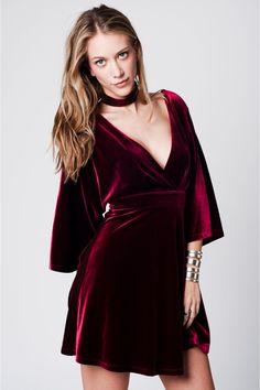 Kimono+Sleeve+burgundy+Velvet+Dress