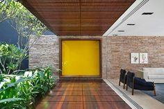 AH House by Studio Guilherme Torres - Design Milk Indoor Outdoor, Outdoor Living, Residential Architecture, Interior Architecture, Best Interior, Interior And Exterior, Interior Design, Yellow Doors, Tropical Houses