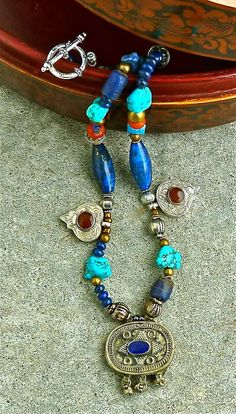 BOHO Single Strand Necklace  Lapis  and by TheJoyMoosCollection