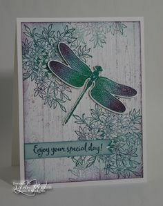 Here's a card which uses a few of my favorite stamp sets... Awesomely Artistic , Dragonfly Dreams  and Hardwood . I think they all work re...