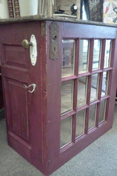 Repurposed Door and Barnwood Kitchen Island….possibly make into beverage bar f… Repurposed Door and Barnwood Kitchen Island….possibly make into beverage bar for sunroom Furniture Projects, Furniture Makeover, Wood Projects, Diy Furniture, Furniture Design, Furniture Dolly, Furniture Outlet, Furniture Stores, Luxury Furniture