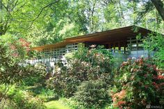 Buying a Frank Lloyd Wright original would be like trying to buy a priceless museum artifact.On Vashon you can live in a house inspired by his ideas for $374,000. Frank Lloyd Wright Style, Vashon Island, Usonian, Organic Architecture, Cottage, Firs, Cabin, Bath, The Originals