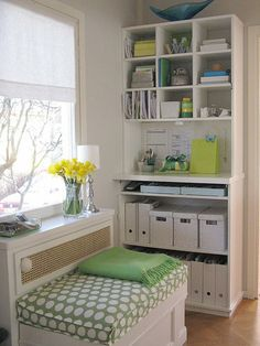 Pretty way to stay organized -white storage boxes shelves