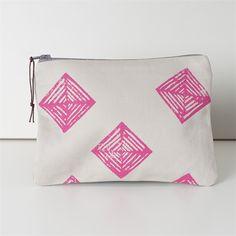 Diamond Print Zipper Pouch, Makeup organiser, Pink Purse.