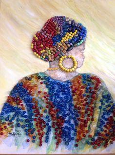 mixed media, aquarel, African beads. Artist Ineke de Rijk