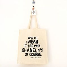 'Chanel No5' Marilyn Monroe Quote Cotton Tote Bag