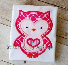 Valentine's Day Owl Applique - 4 Sizes! | Valentine's Day | Machine Embroidery Designs | SWAKembroidery.com Stitch Away Applique