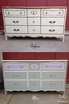 French Provincial dresser painted gray, white, and lilac purple with silver hardware before and after pictures.  Refinished by Kelly's Creations. https://www.facebook.com/KellysCreationsFurniture