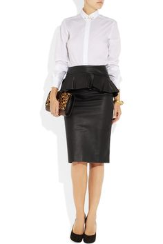 Alexander McQueen Leather peplum skirt