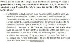 Neville is awarded house points by Dumbledore.  I never thought about it this way.  It's very true I think.