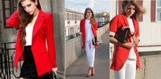 Para o outono inverno 2014: blazer vermelho, azul e branco!