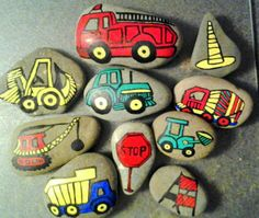 Trucks Tractors & Construction Story Stones Pebble Painting, Pebble Art, Stone Painting, Stone Crafts, Rock Crafts, Arts And Crafts, Art For Kids, Crafts For Kids, Story Stones