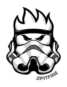 'Spitfire Star Wars' Sticker by BloodyManson Spitfire Logo, Spitfire Skate, Cartoon Character Tattoos, Skateboard Logo, Deadpool Pikachu, Graffiti Characters, Skate Art, Ex Machina, Clothing Logo