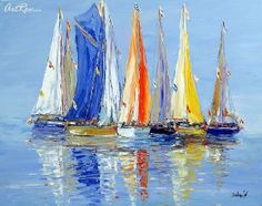 Calm by Duaiv, Original Oil on. Sailboat Art, Sailboat Painting, Sailboats, Pictures To Paint, Painting Pictures, Seashell Art, Acrylic Canvas, Vintage Pictures, Contemporary Paintings