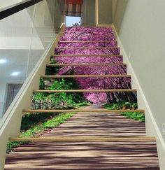 3D Flowers Path View 304 Stairway Stairs Risers Stickers Mural