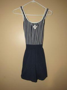 Vtg Jantzen South Point Swim Suit Navy Nautical Romper Stripe