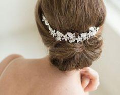 Wedding Lace Headpiece  Pearl Beaded Lace Vine Wedding