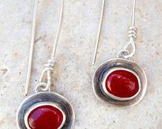 Red stone earrings, Sterling silver earrings, Dangle earrings, Bezel set earrings, Gemstone earrings, Handmade, Artisan, Silversmith