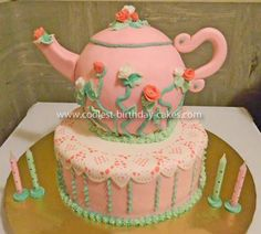 I made this Homemade Pink Teapot Cake for my girl's birthday party. I used the Wilton Ball pan to bake the body of the teapot and decorated the cake wi Pink Teapot, Teapot Cake, Tea Party Birthday, Cool Birthday Cakes, 4th Birthday, Birthday Ideas, Large Cupcake, Mad Hatter Party, Beautiful Desserts