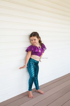 436cac1b7bd93 Little Mermaid Leggings Baby Toddler Girls Pants Birthday Party Outfit  Costume Photo Shoot Gift Present Legging Fish Scale READY TO SHIP