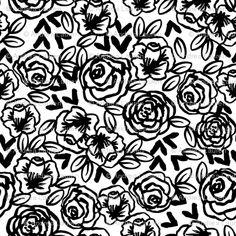 black and white roses (andrea_lauren - spoonflower)