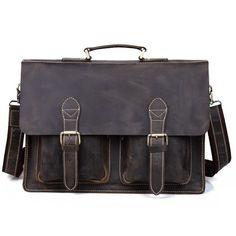 "Handmade Crazy Horse Leather Briefcase / 13"" 14"" Laptop Bag (S23)"