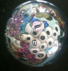 "Josh Simpson hand blown art glass 3""diameter inhabited planet paperweight"
