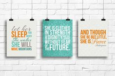 Let her sleep art, and though she be but little, she is clothed in strength, nursery decor, nursery art prints, nursery wall art, A-3001