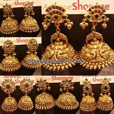 Heavy Jhumkas by Jewels India antique Shoppee Gold Jhumka Earrings, Antique Earrings, Gemstone Earrings, Antique Jewelry, Jhumka Designs, Gold Earrings Designs, India Jewelry, Gold Jewelry, Indian Jewellery Design