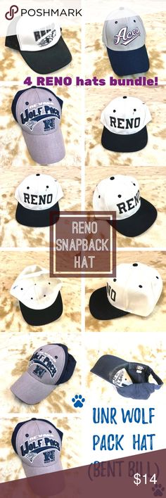 65e0000857b UNR Reno Aces Wolf Pack 4 baseball hat caps bundle Show off your wacky Reno  NV