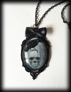 Gothic Victorian Glass Cameo Necklace - Skull and Raven by WhisperToTheMoon on Etsy Goth Jewelry, Skull Jewelry, Gothic Jewellery, Jewlery, Gothic Necklaces, Gothic Rings, Dark Fashion, Gothic Fashion, Small Necklace