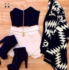 B&W outfit #b&w #style #fashion #skirt #heels #crop