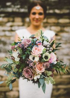 This colorful bouquet is perfect for your fall wedding.