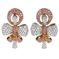 BOUCHERON Pink & White Diamond Bow Earrings