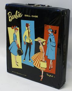 Vintage 1961 Mattel / Ponytail Barbie Doll Mod Era Black Trunk Case