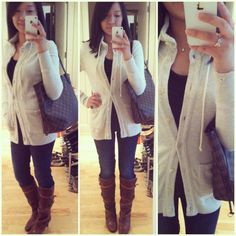 Casual Friday: J.Crew funnel neck cardigan, Banana Republic t-shirt, Gap 1969 skinny jeans, Chloe wrap strap boots, Louis Vuitton Neverfull, Tiffany & Co. jewelry, Forever 21 bow ring.