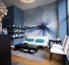 Salon and spa decor ideas magnolia blue mural waiting area for salon a spa . salon and spa decor Waiting Room Decor, Waiting Room Design, Office Waiting Rooms, Spa Interior, Salon Interior Design, Salon Waiting Area, Salon Reception Area, Salon Wallpaper, Spa Rooms