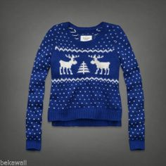 NWT Abercrombie & Fitch Gemma Sweater Moose Crewneck Cropped Knit BLUE Size S