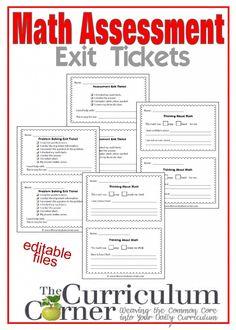 Math Assessment Exit Tickets free from The Curriculum Corner Learn Math Online, Math Assessment, Exit Tickets, Curriculum, Resume, Teaching Plan