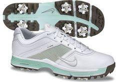 Nike Ladies Lunar Links Golf Shoes - White/Granite/Mint Candy