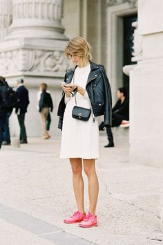 White dress, biker jacket, and pink sneaks :: Vanessa Jackman: Paris Fashion Week SS 2013....Veronika