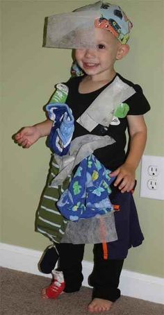 Affix clothing and dryer sheets to yourself to personify static cling. | 31 Insanely Clever Last-Minute Halloween Costumes