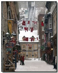 """""""Christmas In Place Royale, Quebec, Canada"""" - photo by Lisa Stokes via mistymorrning on imgfave.com."""