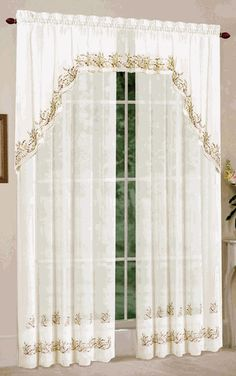 Heather sheer curtains are a beautiful ivory sheer delicately embroidered with flowers & leaves. Sheer Curtain Panels, Rod Pocket Curtains, Sheer Curtains, Valance Curtains, Luxury Curtains, Elegant Curtains, Home Curtains, Living Room Divider, Living Room Sets