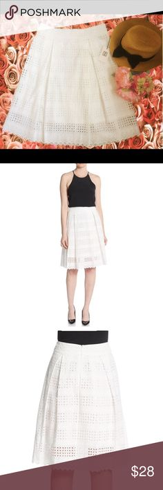 ❗️FLASH SALE❗️Ivanka Trump Cotton Eyelet Skirt Ivanka Trump Cotton Eyelet Skirt     ⭐️ TODAY's SALE PRICE ⭐️ •Pleated eyelet skirt in timeless A-line silhouette •Banded waist •Concealed back zip with hook-and-eye closure Ivanka Trump Skirts A-Line or Full