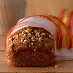 This spicy pumpkin bread gets its kick from a blend of allspice, cinnamon, cloves, and nutmeg. Top spicy pumpkin bread with a sprinkle of chopped walnuts for a salty crunch that pairs perfectly with the sweet, moist bread. Muffin Recipes, Bread Recipes, Cooking Recipes, Pudding Recipes, Pumpkin Recipes, Fall Recipes, Yummy Recipes, Holiday Bread, Deserts